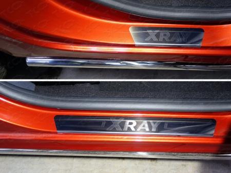 Lada XRAY(x-ray) 2016-Накладки на пороги (лист зеркальный надпись XRAY)